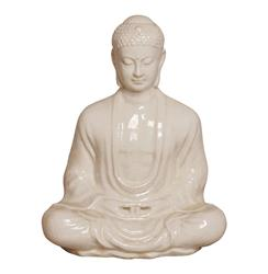 Antique White Ceramic Meditating Buddha Lotus Seat Sculpture- 30 Inch