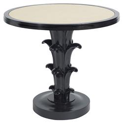 Aurelia Regency Black Lacquered Cream Top Round Side End Table