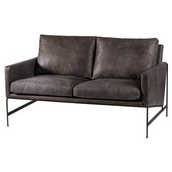 Vallery Industrial Distressed Black Leather Loveseat | Kathy Kuo Home