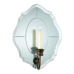 Bonnet Antique Scalloped Mirror Taper Candle Sconce | CYAN-02802