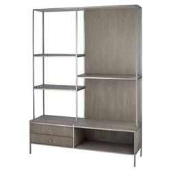 Paisley Classic Grey Oak Marble Top 2 Drawer Display Bookcase Etagere | Kathy Kuo Home
