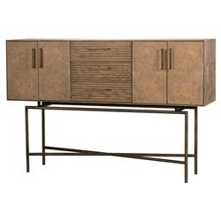 Beverly Modern Classic Knotty Oak Bronze 3 Drawer Sideboard | Kathy Kuo Home