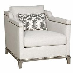 Carroll Modern Classic Nailhead Trim Ivory Linen Club Chair | Kathy Kuo Home
