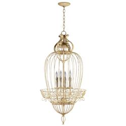 Vintage Foyer Antique White Bird Cage 4 Light Chandelier | CYAN-04755