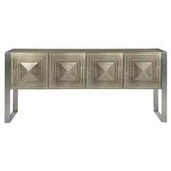 Gwyneth Hollywood Regency Tempered Glass Top Taupe Sideboard