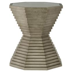 Gwyneth Modern Classic Glass Top Pedestal Side End Table
