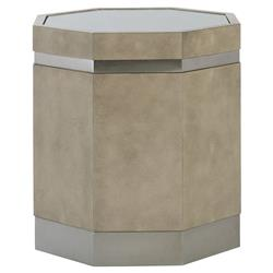 Gwyneth Modern Classic Octagonal Glass Top Steel Band Side End Table