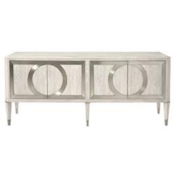 Hayley Hollywood Regency White Oak 4 Door Metal Overlay Sideboard