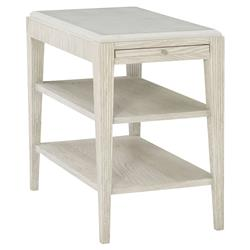 Hayley Hollywood Regency White Oak Quartz Top Single Shelf Side End Table