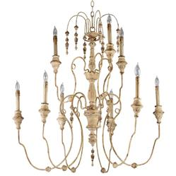 Maison French Country Antique White 9 Light Chandelier | CYAN-04639