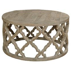 Dionne French Rustic Round Reclaimed Elm Carved Round Coffee Table
