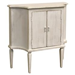 Melany French Country Single Shelf Pine White Cabinet