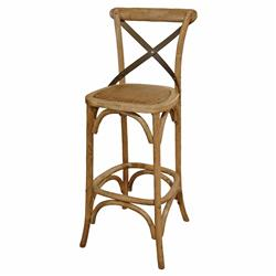 Valois French Country Metal Cross Oak Bar Stool