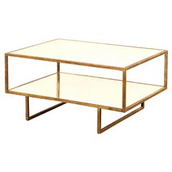 Isadora Hollywood Regency Gold Framed Mirrored Coffee Table