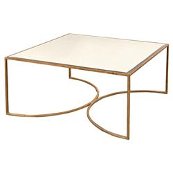 Isadora Hollywood Regency Gold Framed Mirrored Square Coffee Table
