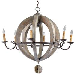 French Country Round Barrel Carved Wood Limed Oak 6 Light Chandelier