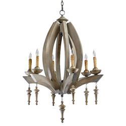 Manning French Country Oval Carved Wood 6 Light Chandelier