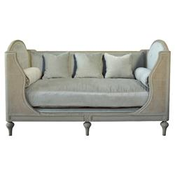 Bretagne French Country Grey High Back Blue Upholstered Bench