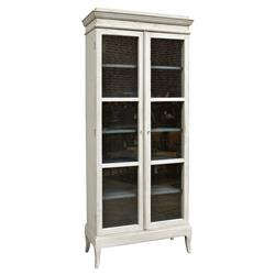 Yann French Country Reclaimed Pine 6 Shelf White Display Cabinet