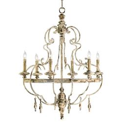 Da Vinci 6 Light French Country Antique Ivory Chandelier | CYAN-04160