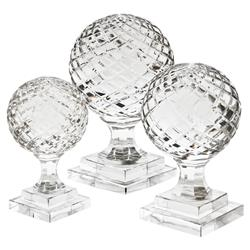 Eichholtz Modern Classic  Set of 3 Arabesque Crystal Glass Ball Footed Objects