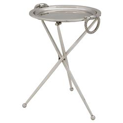 Eichholtz Keller Modern Classic Silver Plated Round Side End Table