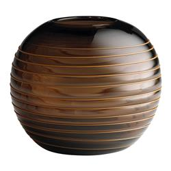 Med. Amber Brown Striped Glass Modern Ball Vase | CYAN-04225