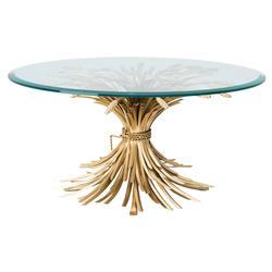 Eichholtz Bonheur Hollywood Regency Gold Iron Round Beveled Glass Round Coffee Table
