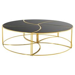 Eichholtz Carter Hollywood Regency Black Glass Gold Round Coffee Table