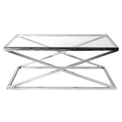 Eichholtz Criss Cross Modern Clear Glass Stainless Rectangular Coffee Table