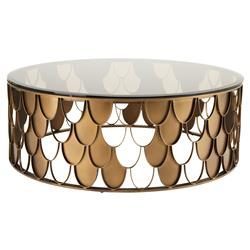Eichholtz L'Indiscret Hollywood Regency Glass Antique Copper Scale Round Round Coffee Table