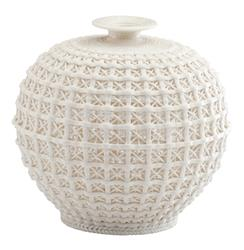 Diana Coastal Beach Ceramic Woven Knit Sweater Pattern Modern Bud Vase | CYAN-04440