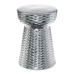 Modern Silver Ceramic Garden Stool End Table | CYAN-04150