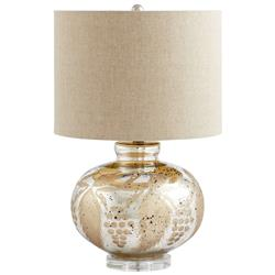 Sandalwood Modern Elegant Mercury Glass Floral Linen Table Lamp | CYAN-04817