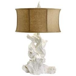 Bleached White Modern Driftwood Linen Shade Table Lamp | CYAN-04438