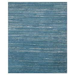 Modern Grey Linear Blue Silk Wool Rug - 5'6x8'6