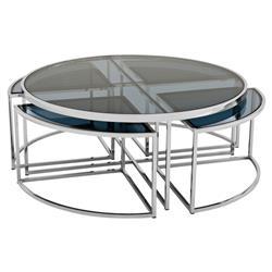 Eichholtz Padova Modern Classic Smoked Glass Round Nesting Silver Round Coffee Table