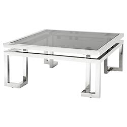Eichholtz Palmer Modern Classic Square Smoked Glass Top Silver Coffee Table