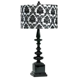 Dario Neo Noir Gloss Black  White Damask Contemporary Table Lamp