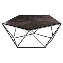 Eichholtz Pentagon Modern Classic Charcoal Oak Veneer Black Nickel Round Coffee Table