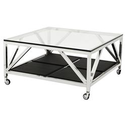 Prado Modern Classic Glass Top Faux Leather Square Wheeled Coffee Table