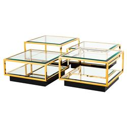 Eichholtz Tortona Hollywood Regency Gold Beveled Glass Top Multi Level Square Coffee Table - Set of 4