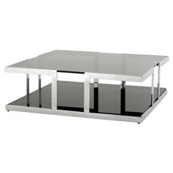 Eichholtz Treasure Modern Classic Smoked Black Glass Square Coffee Table