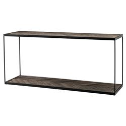 Eichholtz La Varenne Rustic Weathered Oak Rectangular Single Shelf Console Table