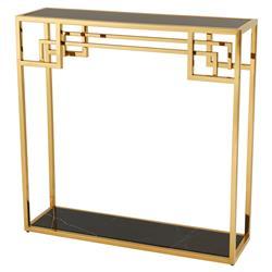 Eichholtz Morris Hollywood Regency Black Marble Glass Gold Frame Console Table