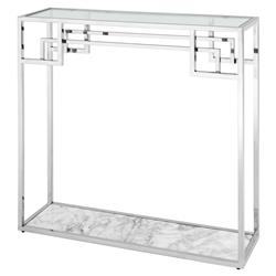 Eichholtz Morris Hollywood Regency White Marble Glass Silver Frame Console Table