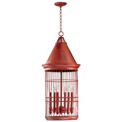 Conical Red Bird Cage 6 Light Entryway Chandelier | CYAN-04753