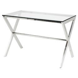 Eichholtz Criss Cross Modern Classic Glass Rectangular Small Desk