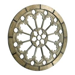 Scandinavian Antique Gold Pewter Carved Wood Medallion Circle Mirror | CYAN-04009