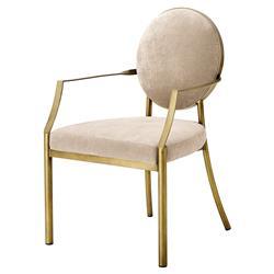 Eichholtz Scribe Modern Classic Greige Velvet Dining Arm Chair
